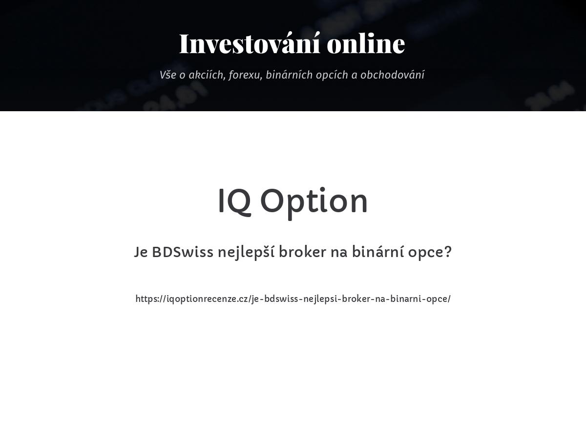 Je BDSwiss nejlepší broker na binární opce?