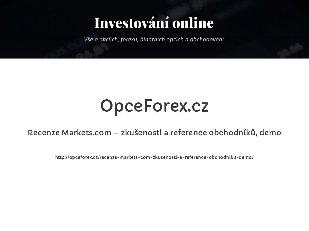 Recenze Markets.com – zkušenosti a reference obchodníků, demo