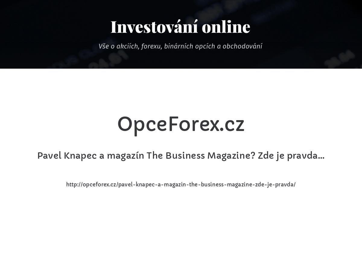 Pavel Knapec a magazín The Business Magazine? Zde je pravda…