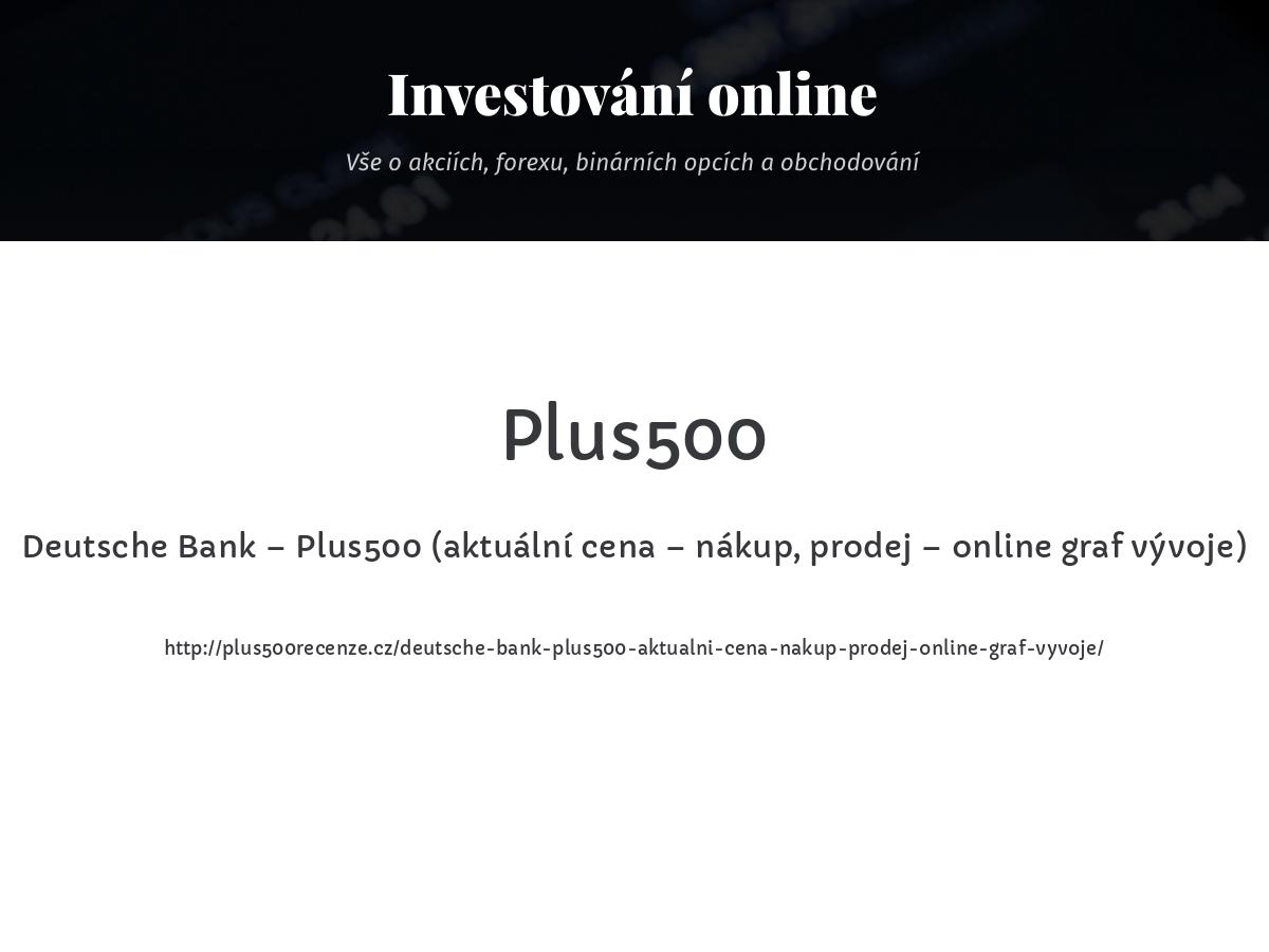 Deutsche Bank – Plus500 (aktuální cena – nákup, prodej – online graf vývoje)