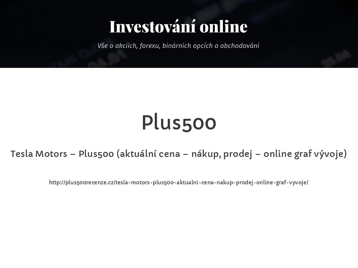 Tesla Motors – Plus500 (aktuální cena – nákup, prodej – online graf vývoje)