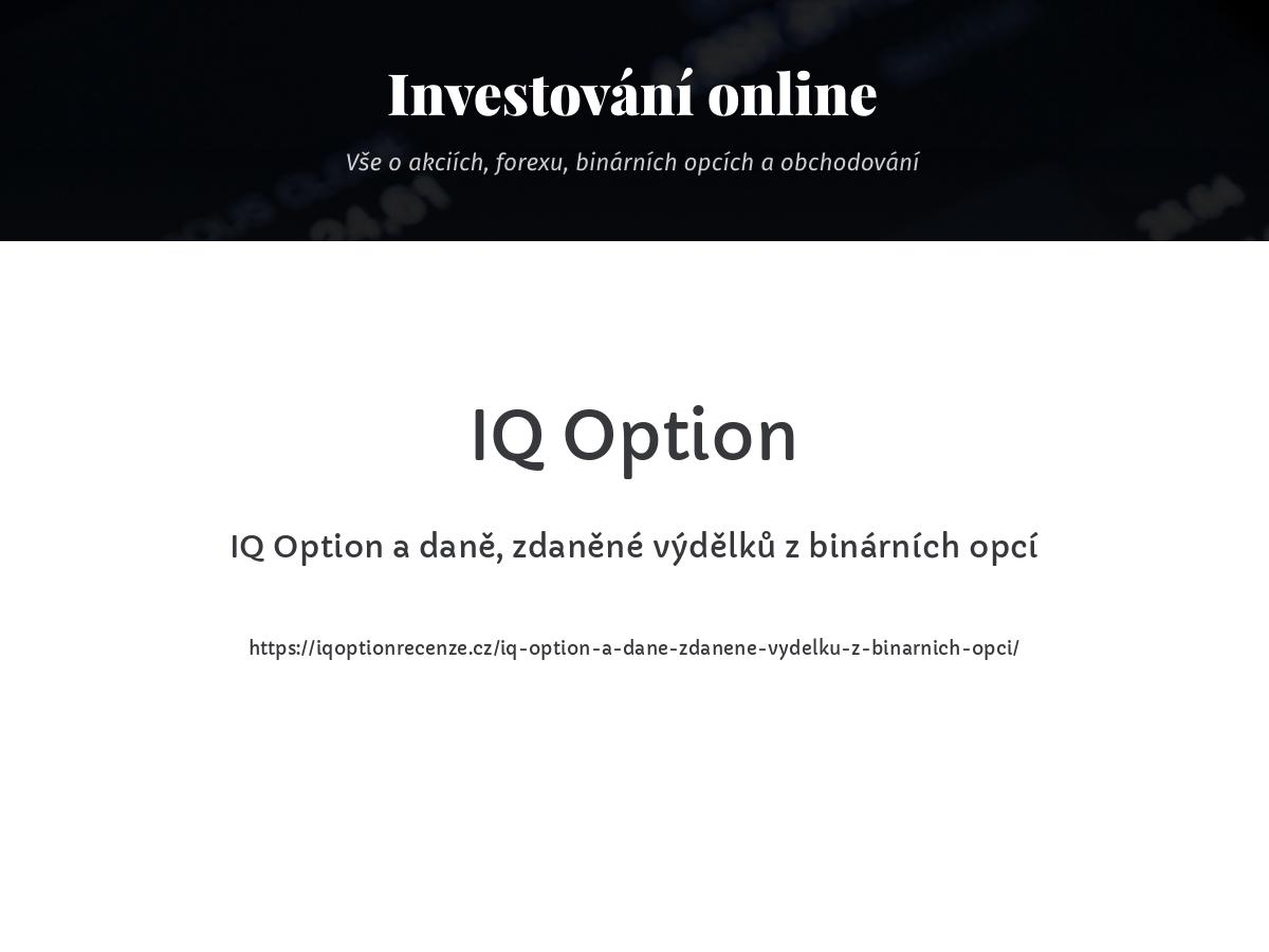 IQ Option a daně, zdaněné výdělků z binárních opcí