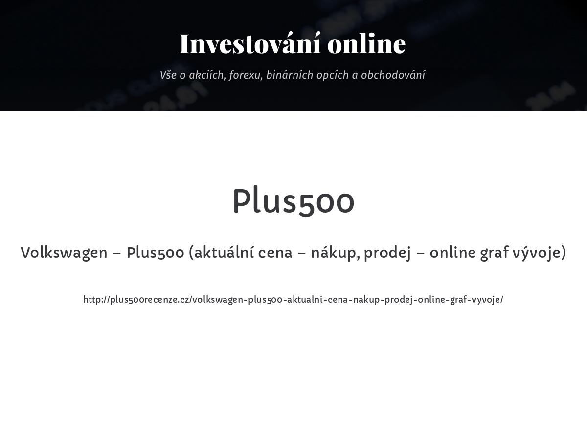 Volkswagen – Plus500 (aktuální cena – nákup, prodej – online graf vývoje)