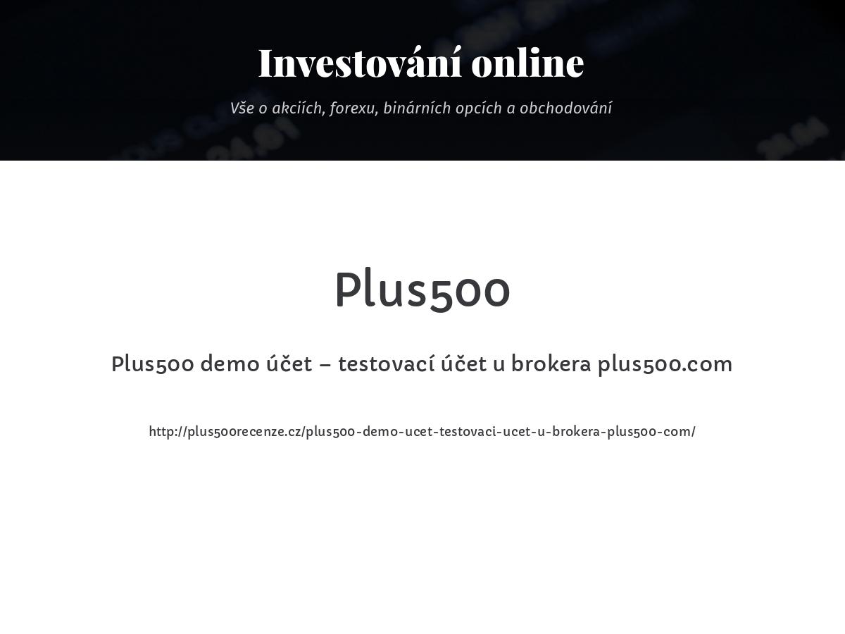 Plus500 demo účet – testovací účet u brokera plus500.com
