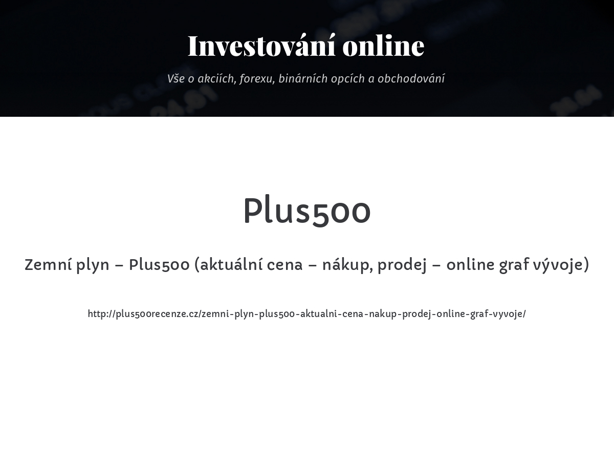 Zemní plyn – Plus500 (aktuální cena – nákup, prodej – online graf vývoje)